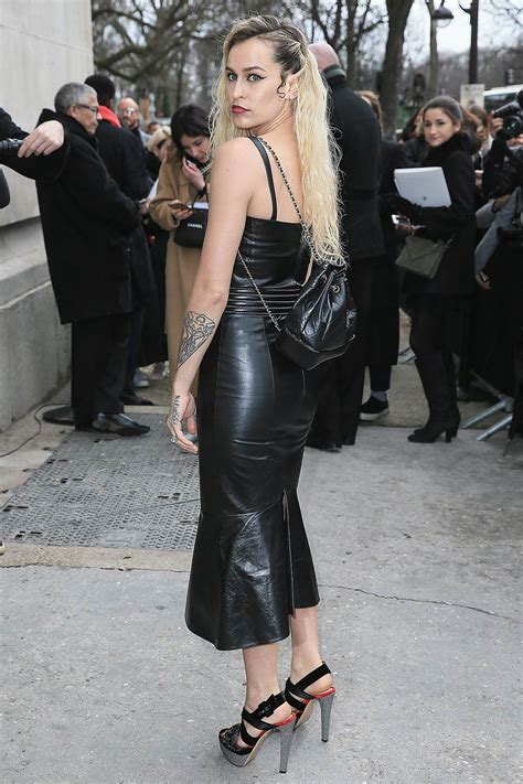 Alice Dellal attends the Chanel show - Leather Celebrities
