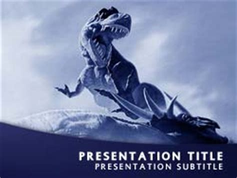 Royalty Free Dinosaur T Rex PowerPoint Template in Blue