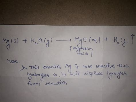 Magnesium reacts with hot water